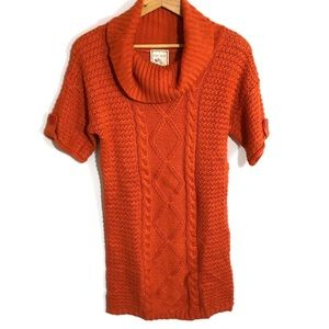 Cowl neck Cable knit sweater tunic / dress xl